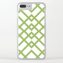 Green Tracery Geometric Pattern Clear iPhone Case