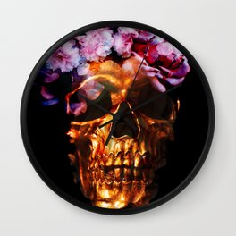 Gold Skull with Flower Crown Wall Clock