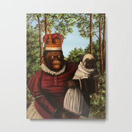 Monkey Queen with Pug Baby Metal Print