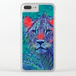AnimalBlue_Lion_004_by_JAMColors Clear iPhone Case