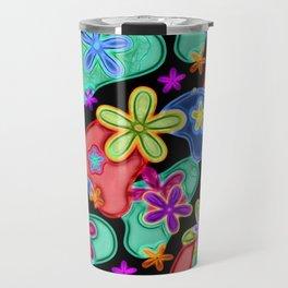 Colorful Retro Flowers Fractalius Pattern Travel Mug