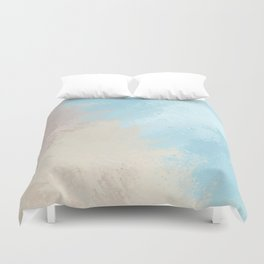 Abstract modern ivory pastel blue watercolor Duvet Cover