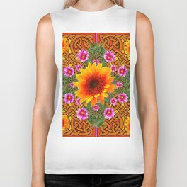 Celtic Fuchsia Green Sunflowers Dahlias Art Design Biker Tank