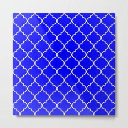 Quatrefoil - Blue Metal Print