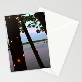 String Lights at Sunset on Lake Pemaquid in Damariscotta, Maine (1) Stationery Cards