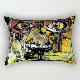 Lion Eyes Abstract Human Animal Illustration Rectangular Pillow
