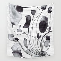 yetiland Wall Tapestries featuring ink flowers by Georgiana Paraschiv