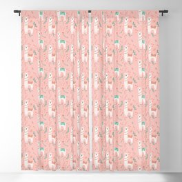 Lovely Llama on Pink Blackout Curtain