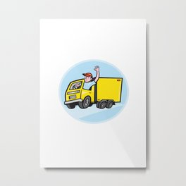 Delivery Truck Driver Waving Cartoon Metal Print