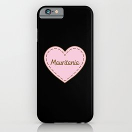 I Love Mauritania Simple Heart Design iPhone Case