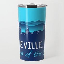 Asheville, NC Cityscape T-Shirt - Blue Travel Mug