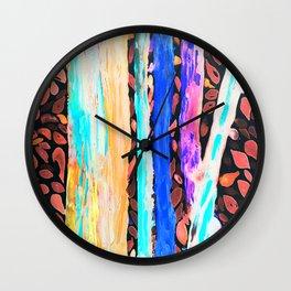 Rainbow Eucalyptus Graffiti artist tree Tries to get ready for the Fall Autumn Wall Clock