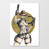 lara croft Canvas Prints featuring Lara Croft Indy by Juan Pablo Cortes