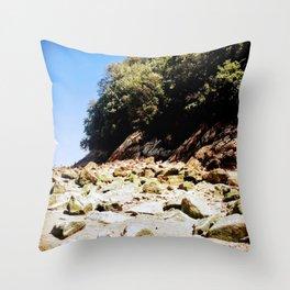 Rocky Beach Coastline Throw Pillow