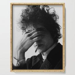 Bob Dylan Smoking Black and white Retro Silk Poster Frameless Serving Tray