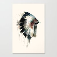 white Canvas Prints featuring Headdress by Amy Hamilton