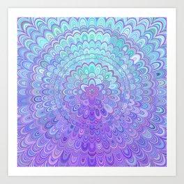 Mandala Flower in Light Blue and Purple Kunstdrucke