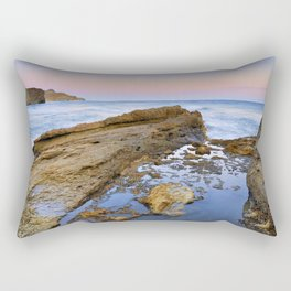 """Volcanic sea at pink sunset"" Rectangular Pillow"
