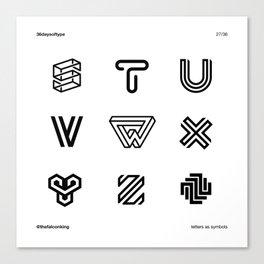 Letters as Symbols 3/4 Canvas Print