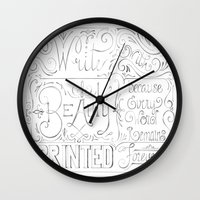 calligraphy Wall Clocks featuring Julie's Calligraphy by Julie's Fabrics & Thingummies
