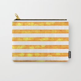 Bokeh Stripes Gold And White - Glam Carry-All Pouch