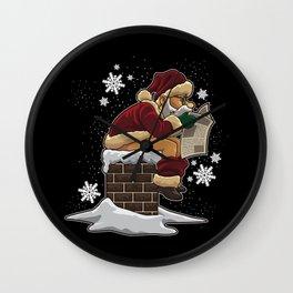 Santa Claus Shits In The Chimney Wall Clock