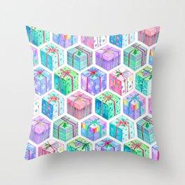 Christmas Gift Hexagons Throw Pillow