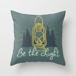 BE THE LIGHT colorful lantern positive Christian quote Throw Pillow