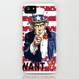 Uncle Sam I Want You With Stars and Stripes Background iPhone Case