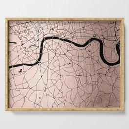 London Rosegold on Black Street Map Serving Tray