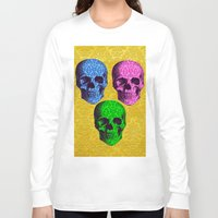 damask Long Sleeve T-shirts featuring 3 Damask skulls. on damask. by Drew Mandigo