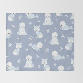 ARCTIC FRIENDS (blue) Throw Blanket