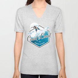 Surfing Coast to Coast Unisex V-Neck