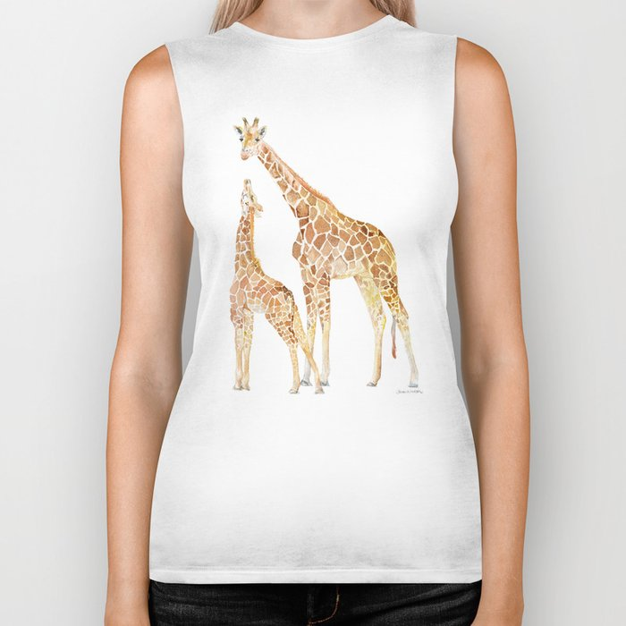 Mother and Baby Giraffes Biker Tank