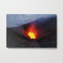 Scenery night eruption volcano on Kamchatka Peninsula Metal Print
