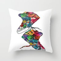 sneakers Throw Pillows featuring Paint sneakers by Cindys