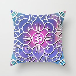 Yoga's Spiritual Om Mantra // Over Pink and Blue Colored Clouds Throw Pillow