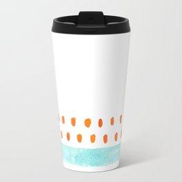 teal stripe orange dots pattern Travel Mug