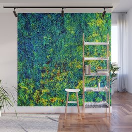 Abstract Flowers yellow and green Wall Mural