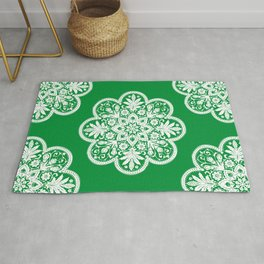 Floral Doily Pattern | Lace Crochet Doilies | Needle Crafts | Green and White | Rug
