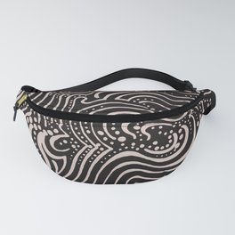swirls with dots on black Fanny Pack