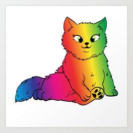 Colorful Cute Funny Rainbow Kitten Rave LGBTQ Community Gay Lesbian Transgender Cat T-shirt Design Art Print