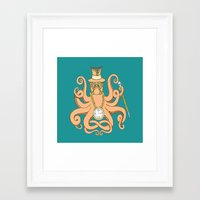 steam punk Framed Art Prints featuring Steam Punk Octopus by J&C Creations