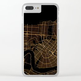 Black and gold New Orleans map Clear iPhone Case