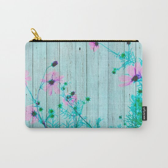 Sweet Flowers on Wood 03 Carry-All Pouch