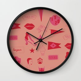 Patches - Pink + Red Wall Clock