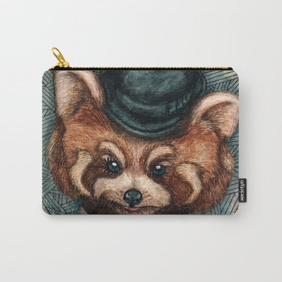 Cute Red Panda in Bowler hat Carry-All Pouch