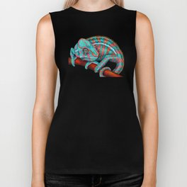 Panther Chameleon Turquoise Blue & Coral Red Biker Tank