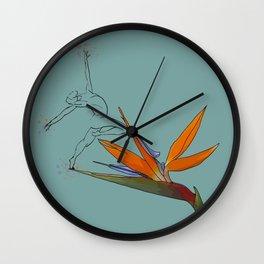 Ballerina on bird of paradise Wall Clock