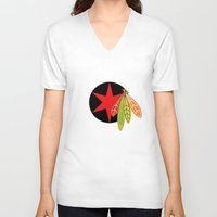 blackhawks V-neck T-shirts featuring City of the Four Feathers - Alternate by fohkat